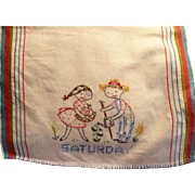 Saturday Embroidered Towel