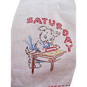 Saturday Embroidered Baking Towel