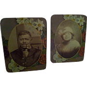 Pair of Black Americana Photographs on Tin - Red Tag Sale Item