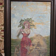 Antique 1890's Oil Painting Cows Very Nice Primitive!