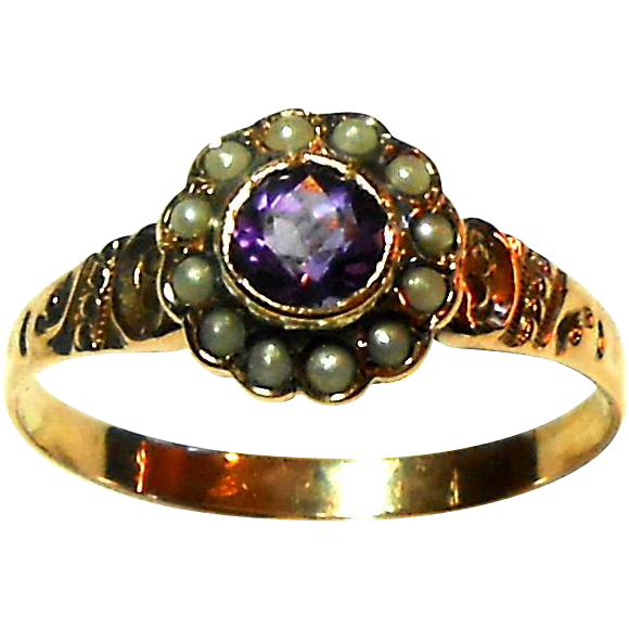 10k Rose Gold Victorian Amethyst Amp Seed Pearl Ring Size 7