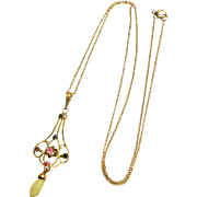 Signed 10k Victorian Yellow Gold Lavaliere Necklace with Pink Sapphire & Amethyst circa 1890