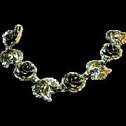Signed Danecraft Sterling Rosette & Leaf Bracelet c. 1950