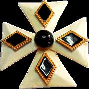 Signed Hattie Carnegie Enamel Maltese Cross Brooch c. 60