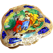Signed Italian Continental Silver Enameled Compact circa 1940