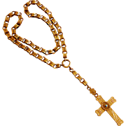 Victorian Gold Filled Cross w/ Persian Turquoise Cabochon on Book Chain c. 1880