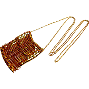 Whiting Davis Gold Tone Mesh Purse Necklace circa 1970