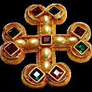 Signed Joan Rivers Maltese Cross Brooch