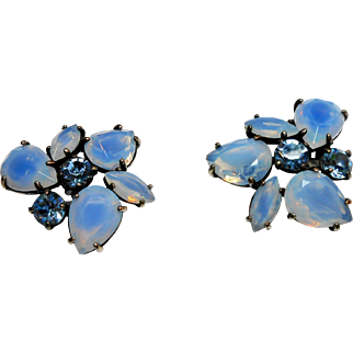Signed Schiaparelli Large Opalescent Blue Glass Earrings c. 50