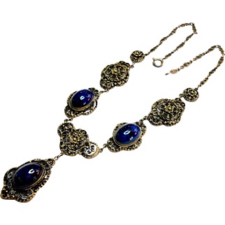 Signed Italian Florentine Continental Silver & Lapis Necklace circa 1940