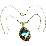Signed Sterling Germany Marcasite & Blue Faceted Glass Necklace c. 1930