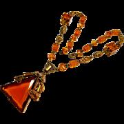 Art Deco Czechoslovakian Amber Glass & Gilded Brass Necklace circa 1920