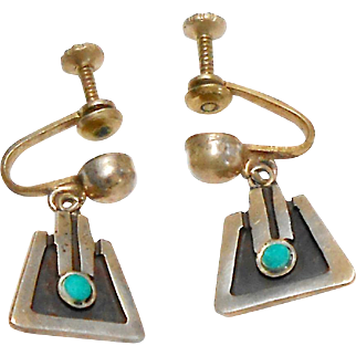 Signed Sterling Taxco Mexico F. Torres Drop Earrings circa 1950