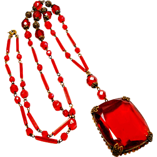 Signed Czechoslovakia Red Glass & Gilded Brass Necklace circa 1920