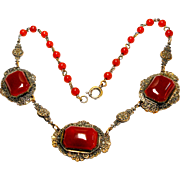 Art Deco Carnelian Glass Articulated Necklace circa 1920