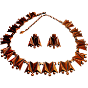 Signed Renoir Copper Mid Century Necklace & Earring Set c. 1960