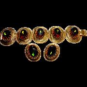 Unsigned Large Chunky Heliotrope Stone Bracelet & Earring Set c. 1960