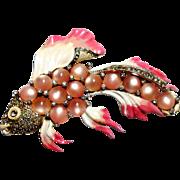 Coro Pink Moon Glow, Enamel & Rhinestone Fish Brooch circa 1941