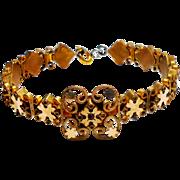 Victorian Yellow Gold Filled Memory Wire Bracelet w/ a Rose Cut Garnet c. 1890
