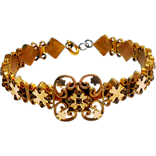 Victorian Yellow Gold Filled Memory Wire Bracelet w/ a Rose Cut Garnet c. 1890