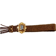 Victorian Wedding Garter Bracelet w/ a Sardonyx Cameo circa 1890