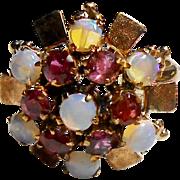 18K Yellow Gold Opal & Garnet Princess Style Ring size 6.5