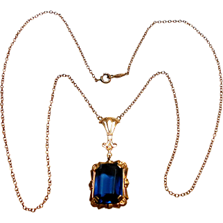 Signed Esem Co 10K Yellow Gold Necklace w/ Blue Stone circa 1930
