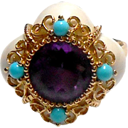 Signed 14K FP Amethyst, Turquoise & White Coral Ring size 8