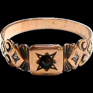 Signed A36KE 10K Victorian Rose Gold Ring w/ Garnet & Paste Ring size 9.5