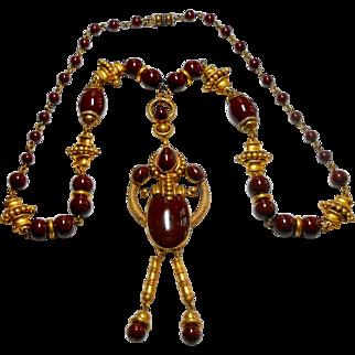 Signed Czechoslovakian Rich Chocolate Glass & Brass Necklace c. 1920