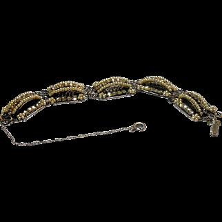 Unsigned Imitation Seed Pearls & Rose Montee Filigree Bracelet circa 1940