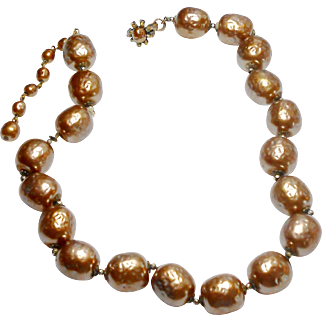 Signed Miriam Haskell Large Imitation Taupe Baroque Pearl Necklace c. 1950