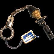 "Hattie Carnegie w/ Original Tag Lady ""Bobby"" Whistle Key Chain"