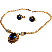 Signed Miriam Haskell Imitation Pearl & Sapphire Necklace & Earring Set c. 70