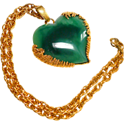 Signed Harry Rosenfeld Green Marbled Lucite Heart in Heavy Gold Tone Necklace