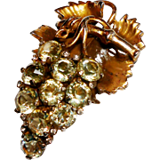Signed Reja Faceted Champagne Rhinestone Grapes Brooch circa 1940