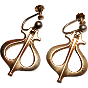 Signed David Andersen Sterling Mid Century Modern Design Earrings c. 60