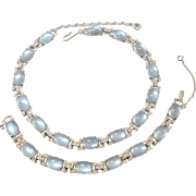 Signed Jomaz Blue Oval Cabochon Necklace & Bracelet Set circa 1950