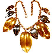 Signed Napier Two Tone Chunky Leaf Bib Necklace circa 1980