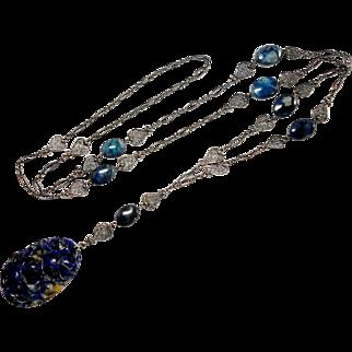 Carved Azurite Italian Florentine Silver Necklace circa 1940