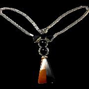Unsigned Art Deco Butterscotch & Black Bakelite Necklace circa 1930