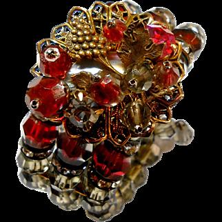 Unsigned Crystal Memory Bracelet with Rhinestone, Givre Glass & Filigree circa 1950