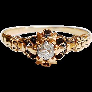 Victorian Rose Gold 14K Diamond Engagement Ring size 7.5 circa 1900