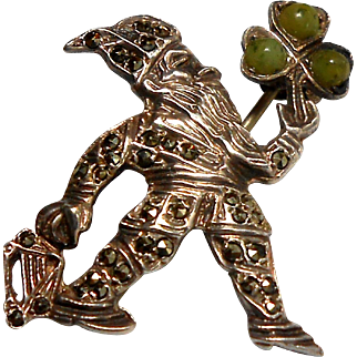 Irish Sterling & Marcasite Elf Pin w/ a Connemara Marble Clover circa 1930