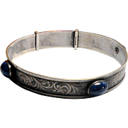 English Sterling Chased Bangle Set w/ Lapis Cabochons circa 1900