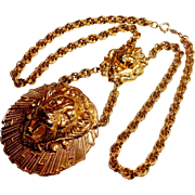 Signed Accessocraft Double Lion Pendent Necklace c. 1970