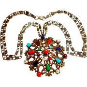 Signed Selini (c) Austro Hungarian Revival Pendent Necklace circa 1970