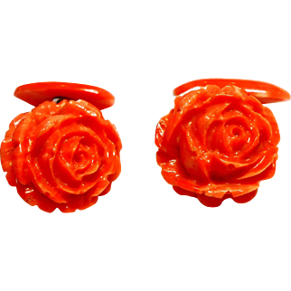 Carved Natural Coral Rose Bud Cuff Links circa 1920