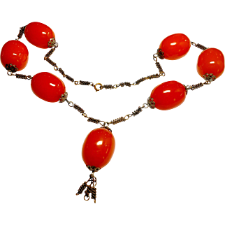 Butterscotch Bakelite Bead Necklace circa 1930