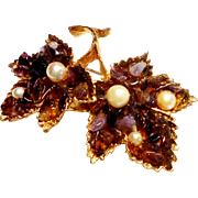 Signed Swoboda Maple Leaves Brooch w/ Amethyst Chips & Cultured Pearls c. 70
